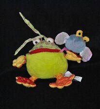 Peluche doudou grenouille vert LILLIPUTIENS mouche gris grelot 13 cm TTBE