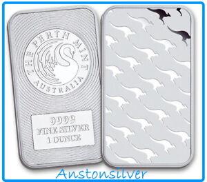 1 oz Perth Mint .9999 Silver Kangaroo Bar - ENCAPSULATED