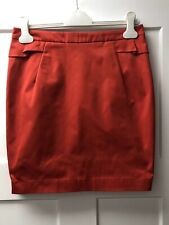 HM Women's Straight Skirt Ruffles Gold Zipper Sheen Red Size 10