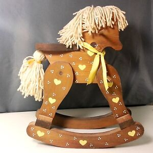 Vintage Hand Made Wooden Mini Rocking Horse Hand Painted w/ Yarn Mane And Tail