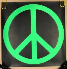 Original Vintage Blacklight Poster 1970s Mini Green Peace Sign Retro Pin-up