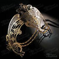 Womens Egyptian Chain Venetiant Filigree Metal Mardi Gras Masquerade Mask [Gold]