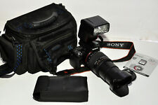 SONY SLT-A55V 16.2MP DSLR w Sony DT 18-250mm W Hood & Maxxum 3500 xi flash &bag