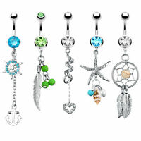 BodyJ4You Belly Button Rings Tribal Dangle Navel 14G Piercing Jewelry 5 Pieces