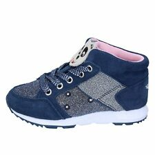 BR330 LELLI KELLY  Shoes Girls Blue Textile Suede Sneakers No Casual Casual Flat