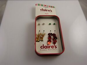 Claires Earrings studs and dangle pierced crystals, assortment 4 pairs reindeer