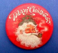 Hallmark BUTTON PIN Christmas Vintage SANTA Smoking Pipe Merry Holiday Pinback