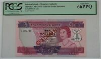(1979)Solomon Islands $10 Dollar Specimen Note SCWPM# 7b-CS1 PCGS 66 PPQ Gem New
