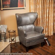 Charcoal Grey Leather Wingback Accent Club Chair w/ Nailhead Accent