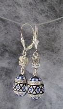 Ukrainian Embroidery Design Trident Tryzub Earrings, Easter Egg, Pysanka, Blue