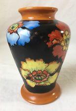 """Vintage Hand Painted Floral Vase Japan Black 7"""""""