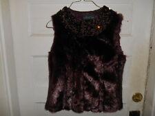 NWT Donna Salyers' Fabulous Furs Faux Fur Paillette Vest