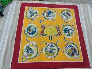 La Cote d'Azur Foulard Vintage Années 60 - 76 x 72 cm