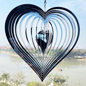360° Heart Wind Spinner Outdoor Yard Garden Stainless Steel Hanging Decor