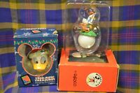 Pair of Vtg MICKEY & CO by Enesco Ornaments of DONALD DUCK-TEED OFF &Xmas Donald