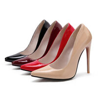 Womens Patent Leather Pointed Toe High Heels Slip On Pumps Party Shoes Plus Size