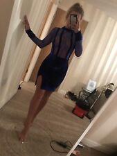 Size 8 DBL TAKE Blue Crushed Velvet Sheer Lace High Split Bodycon Mini Dress New