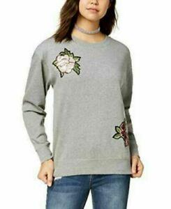 Ultra Flirt Juniors Gray Sequin Applique Floral Long Sleeve Sweatshirt Size S