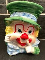 Vintage Napcoware Napco Ceramic Clown Face Head Vase Planter Japan 6""