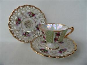 Vintage Japanese Lustre pink Floral & Gold pierced edge 3 pce Tea Cup Saucer set