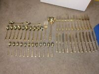 William Rogers And Sons China gold Plate Enchanted Rose Pattern? Silverware 50pc
