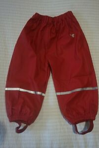 MUDDY PUDDLES PUDDLEFLEX WATERPROOF TROUSERS - RED - 18-24 MONTHS - NEVER WORN