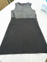 Zara Knit Kleid Stretch Strick mit Kunstleder schwarz Gr. S