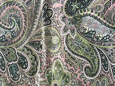 Paisley in Pink, Green and Black Print - home decor- 1 1/4 yard fabric