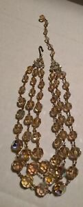 Vintage 3-strand Yellow Aurora Borealis Graduated Bead Necklace