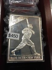 Babe Ruth 1/2 Troy Pound .999 Pure Silver Card w/ 14 Card Porcelain Set In Box