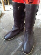 Beautiful VERBAUDET brown mid calf flat leather boots shoes comfy EU 33 UK 1 vgc
