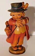"""Anri """"Happy Wanderer"""" Boy w/ Hat Squirrel Bird Hand Carved Wood Figurine 5 3/4"""""""