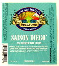 Green Flash Brewing  SAISON DIEGO  beer label San Diego CA  22oz