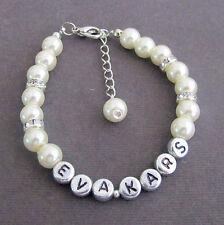 Pearl Name Bracelet,Personalized Wedding Jewelry,Child Name,Monogram Bracelet