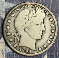 1904-O BARBER SILVER HALF DOLLAR COLLECTOR COIN FOR YOUR SET OR COLLECTION .