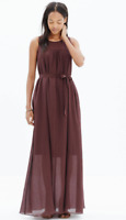 MADEWELL Shirred Silk Maxi Dress In Deep Burgundy Red Size XS