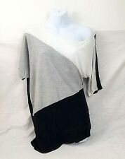 Womens BONGO Color Block White Gray Black Knit Top Short Sleeve Rayon sz SM
