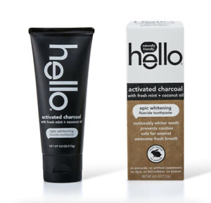 Hello~Fluoride Whitening Toothpaste 4oz~Activated Charcoal~Mint & Coconut Oil