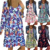 Women's Boho Floral Baggy Tunic Dress Long Sleeve Loose Plus Size Kaftan Dresses