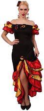 Flamenco Kleid schwarz rot Damen Spanierin Tänzerin Kostüm Karneval Fasching