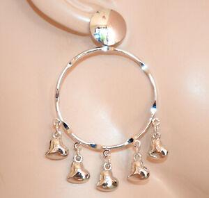 PENDIENTES mujer PLATA aros colgantes corazones niña silver earrings CC232