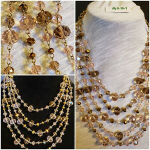 Stunning Statement Necklaces ~ Crystals/Glass Beads Layered Necklace 4 strands