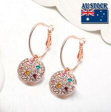 Wholesale Elegant 18K Rose Gold Filled Cubic Zircon Round Colorful Drop Earrings