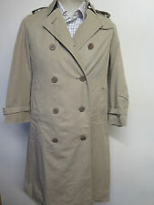 Genuine Aquascutum Light Olive Raincoat Trench Coat Mac UK 8 Euro 36 + Liner