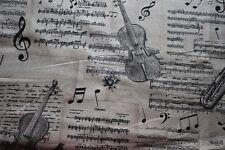 Dekostoff   0,50 x 1,40 Geige, Musik, Noten