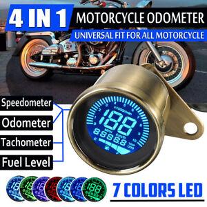 Retro Motorcycle Speedometer LCD Digital Tachometer Odometer Fuel Gauge