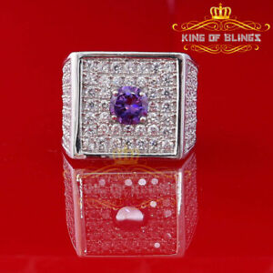 10K White Gold finish Silver w/ Amethyst & CZ Adjustable Men's Ring Size 9 To 12