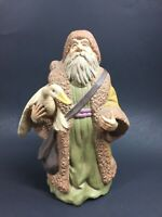 "Vintage Christmas Ceramic Yellow Santa Claus Holding Goose 10"" Statue Ornament"