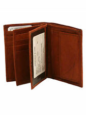 BURGUNDY LEATHER MENS BIFOLD WALLET WITH COIN POCKET