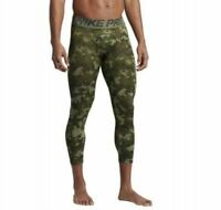 Nike Mens Pro Hypercool 3/4 Compression Tights - 932418 385 - Sz S - Green/Camo